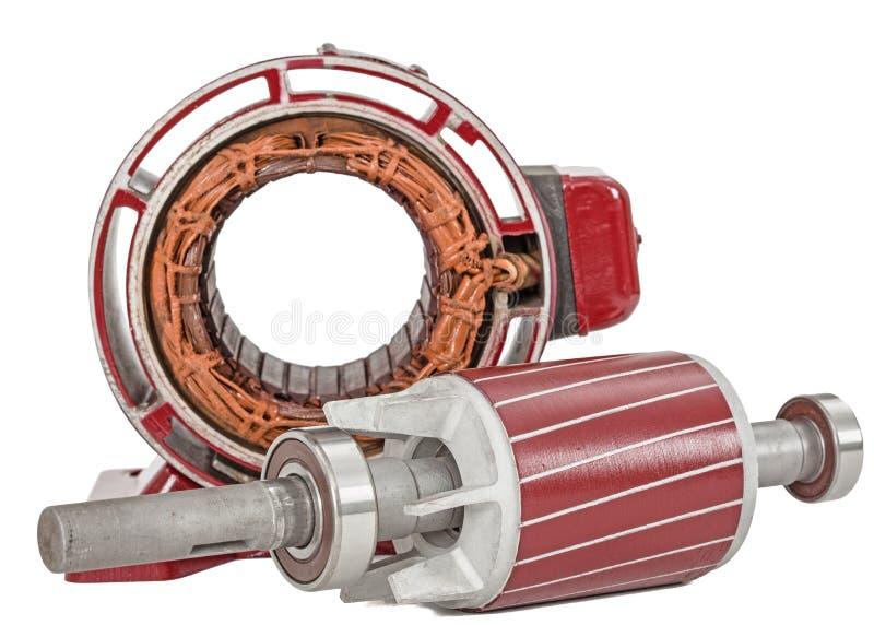 Rotor e estator do motor elétrico, isolados no fundo branco fotos de stock