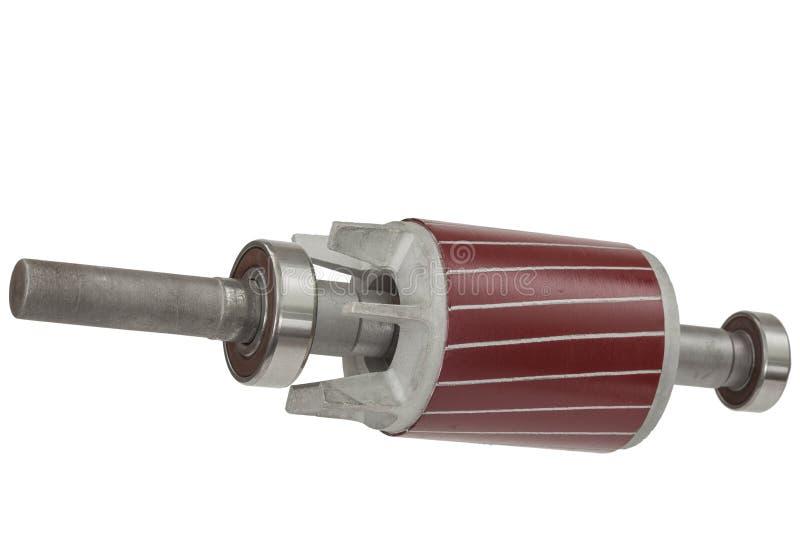 Rotor e rolamento de esferas do motor elétrico, isolado no fundo branco imagens de stock royalty free