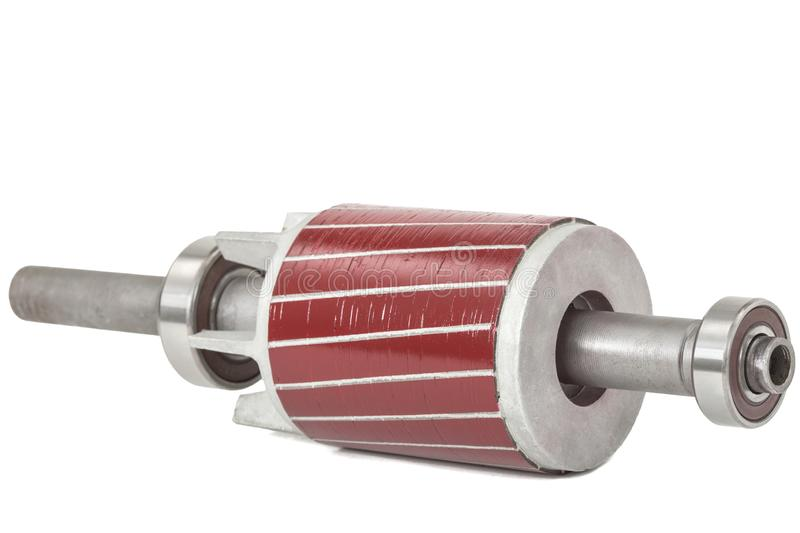 Rotor e rolamento de esferas do motor elétrico, isolado no fundo branco fotos de stock royalty free