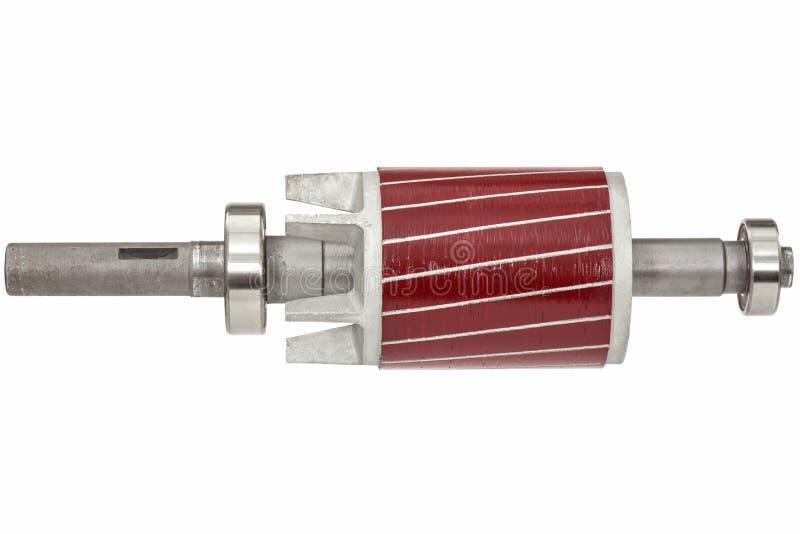 Rotor e rolamento de esferas do motor elétrico, isolado no fundo branco fotos de stock