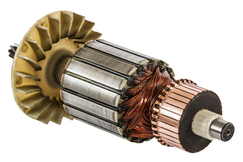 Rotor of electric motor close-up, isolated on white background.  royalty free stock photography