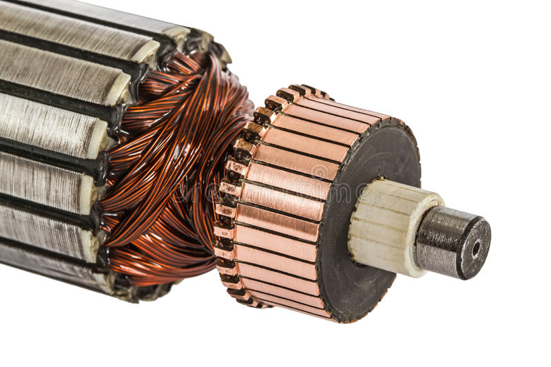 Rotor of electric motor close-up, isolated on white background.  stock photo