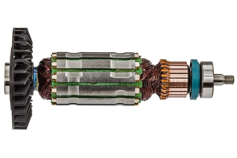 Rotor of electric motor close-up, isolated on white background.  stock image