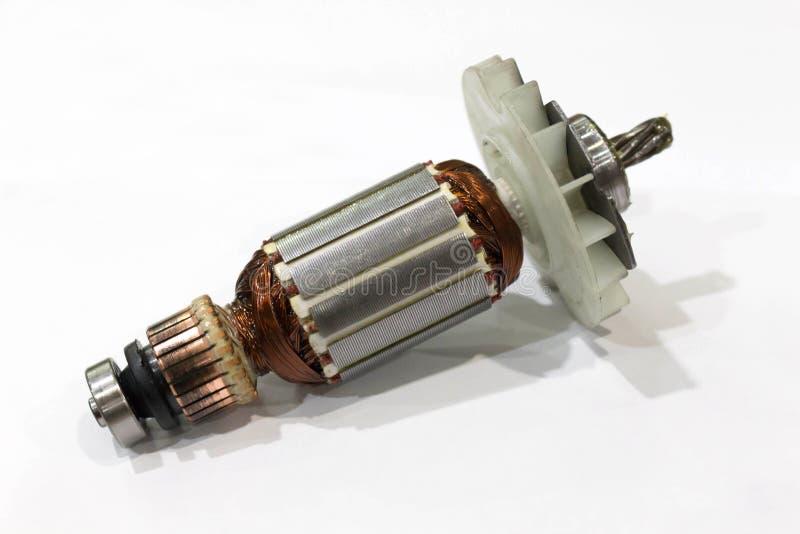 Rotor elektrycznego silnika zakończenie, odosobniony obrazy stock
