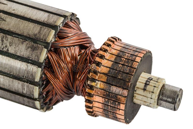 Rotor queimado de um motor velho do elektro, isolado no backgr branco imagens de stock royalty free