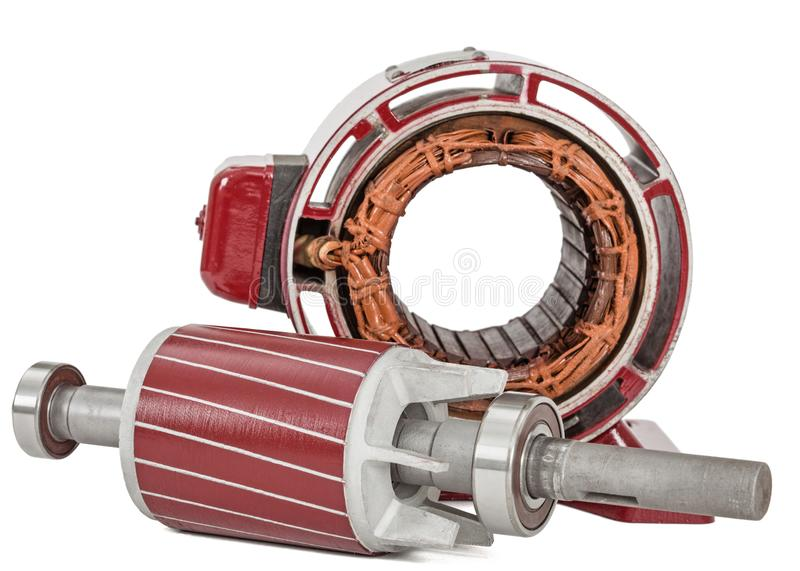 Rotor and stator of electric motor, isolated on white background.  stock photography