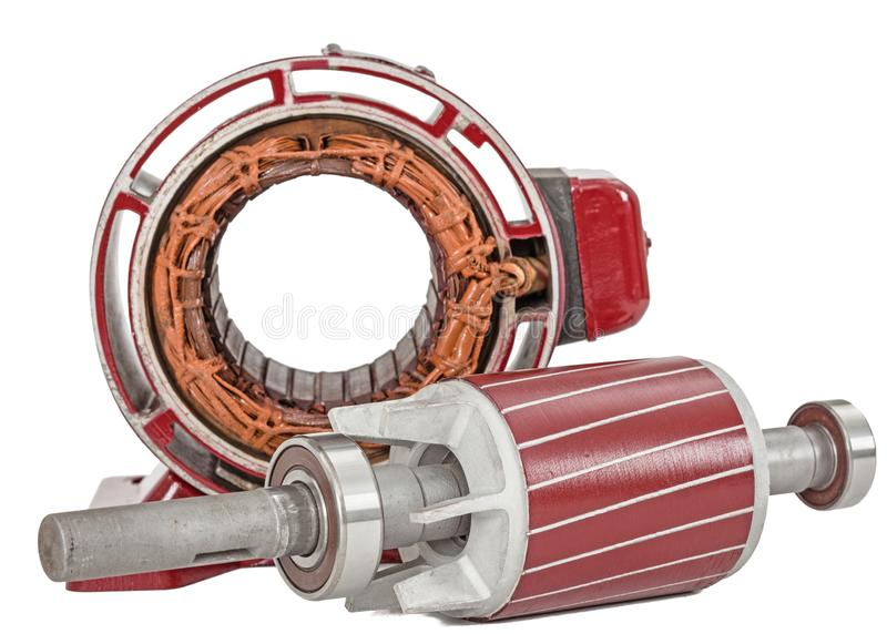 Rotor and stator of electric motor, isolated on white background.  stock photos