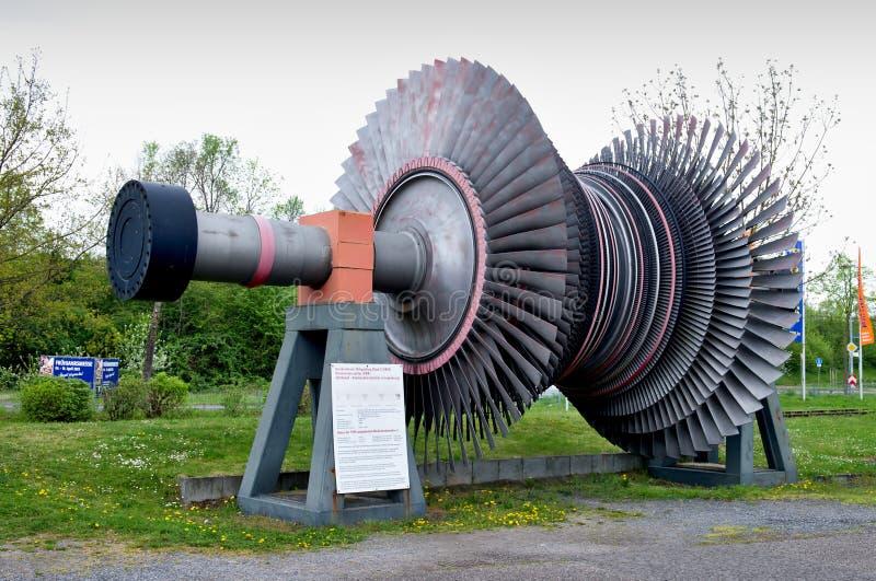 Rotor van een stoomturbine stock afbeelding