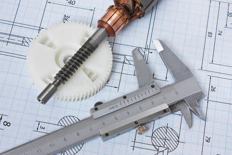Rotor van electromotor en tekening stock afbeeldingen