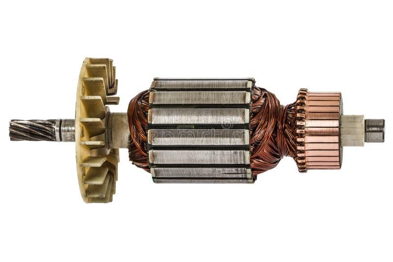 Rotor van elektrische die motorclose-up, op witte achtergrond wordt geïsoleerd royalty-vrije stock foto