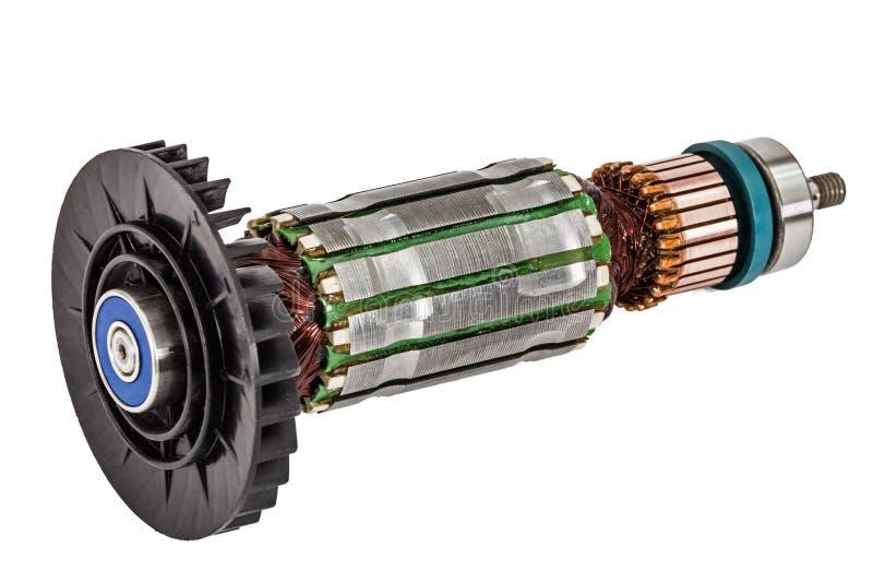 Rotor van elektrische die motorclose-up, op witte achtergrond wordt geïsoleerd stock foto