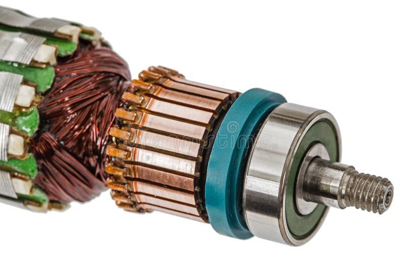 Rotor van elektrische die motorclose-up, op witte achtergrond wordt geïsoleerd royalty-vrije stock afbeeldingen