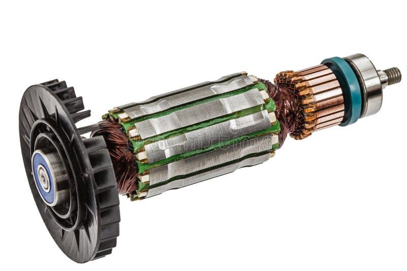 Rotor van elektrische die motorclose-up, op witte achtergrond wordt geïsoleerd stock afbeelding
