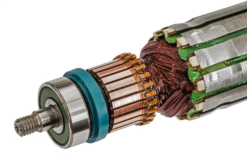 Rotor van elektrische die motorclose-up, op witte achtergrond wordt geïsoleerd stock afbeeldingen