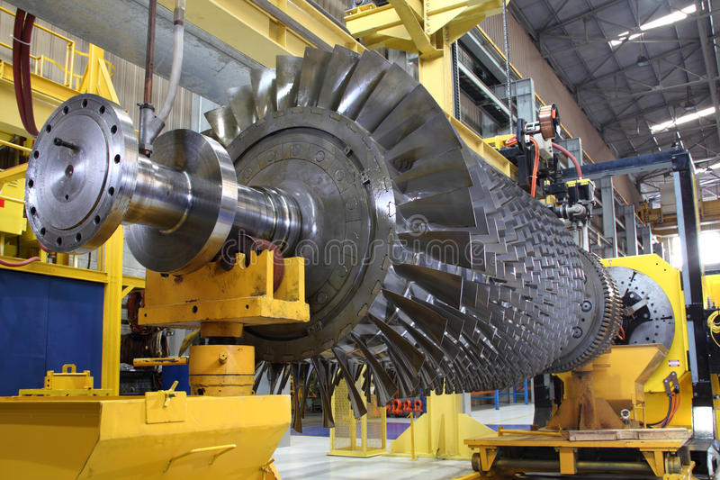 Rotore di turbina all'officina immagini stock libere da diritti