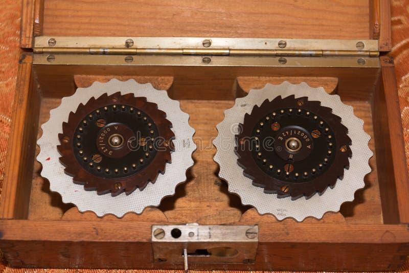 Rotormaskin, Enigma, nollamaskin från världskrig II royaltyfri bild