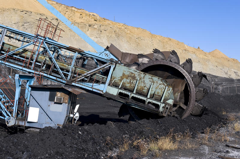 Rotornyj dredge. For a coal mining royalty free stock photography
