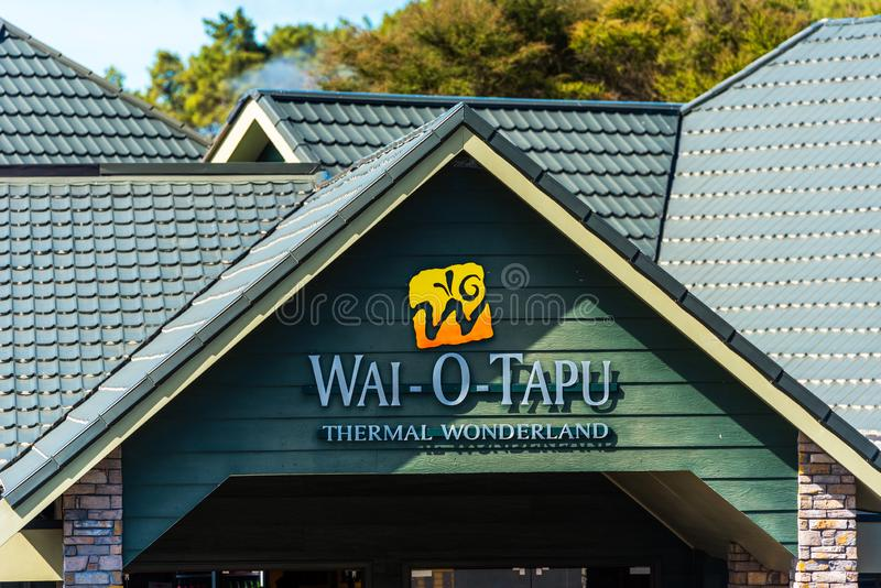 ROTORUA, NEW ZEALAND - OCTOBER 10, 2018: View of the facade of the building Wai-O-Tapu Thermal Wonderland. With selective focus.  stock images
