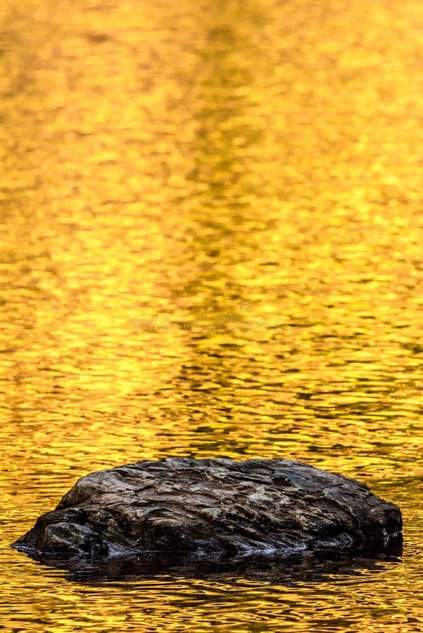 Rots en de gouden bezinningen van het de herfstmeer stock foto's