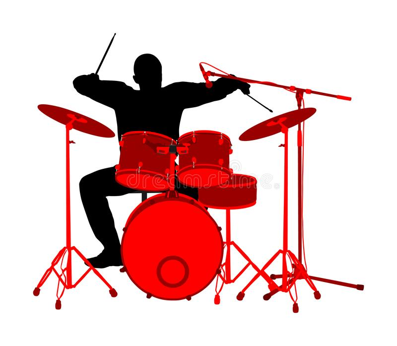 Rots - en - vectordie het silhouetillustratie van de broodjesslagwerker op witte achtergrond wordt geïsoleerd De trommels van het royalty-vrije illustratie