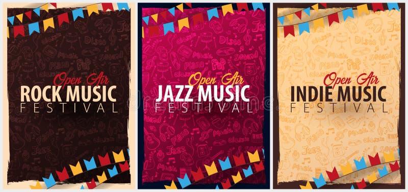 Rots, Jazz, Indie-Muziekfestival Hand getrokken vectorillustratie De reeks van het Malplaatje van het Vliegersontwerp met hand-tr vector illustratie