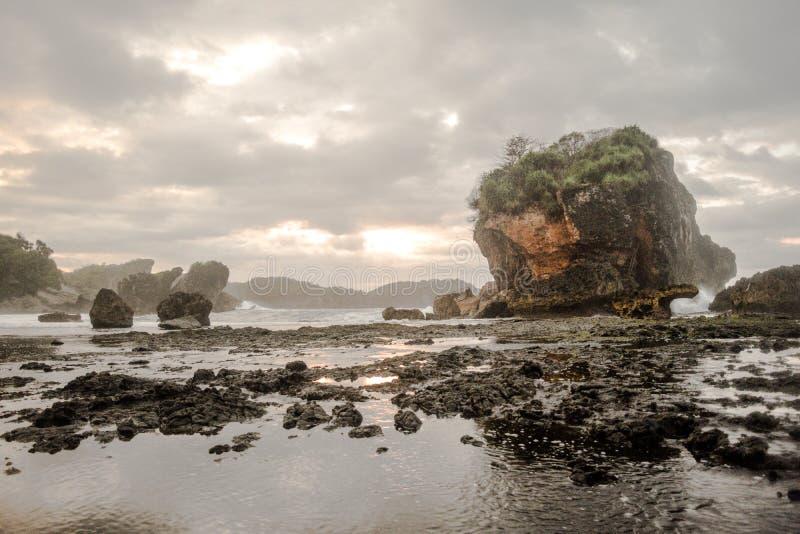 Rots op kust stock foto