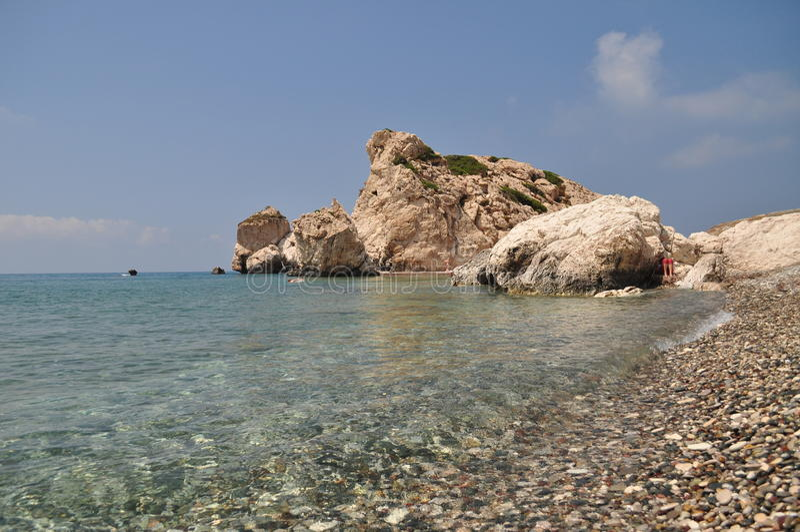 Rots van Aphrodite dichtbij Paphos stock foto's