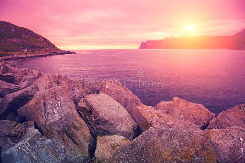 Rotsachtig strand bij roze roze zonsondergang stock foto