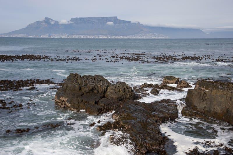 Rotsachtig strand met het overzees in Zuid-Afrika royalty-vrije stock foto