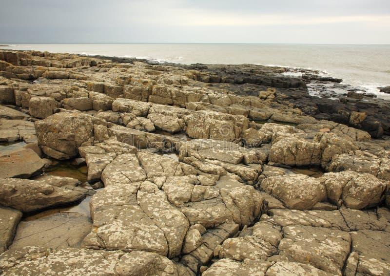 Rotsachtig strand in Northumberland royalty-vrije stock fotografie