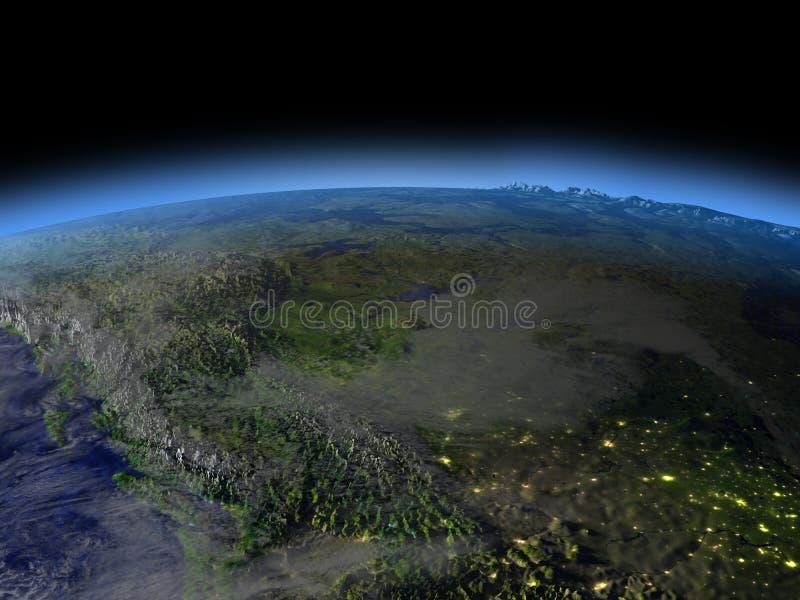 Rotsachtige bergen bij nacht vector illustratie