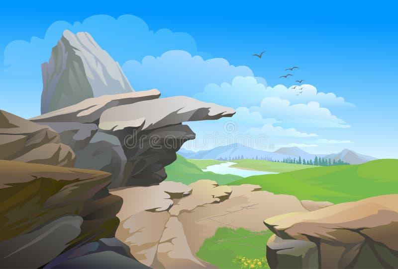 Rotsachtige heuvels, rivier en enorme blauwe hemel stock illustratie