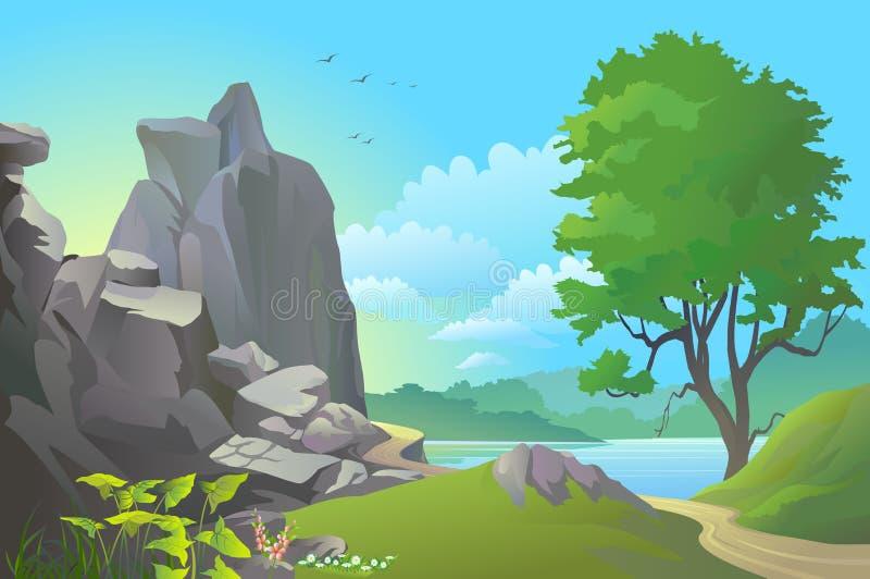 Rotsachtige heuvels, rivier en enorme blauwe hemel royalty-vrije illustratie