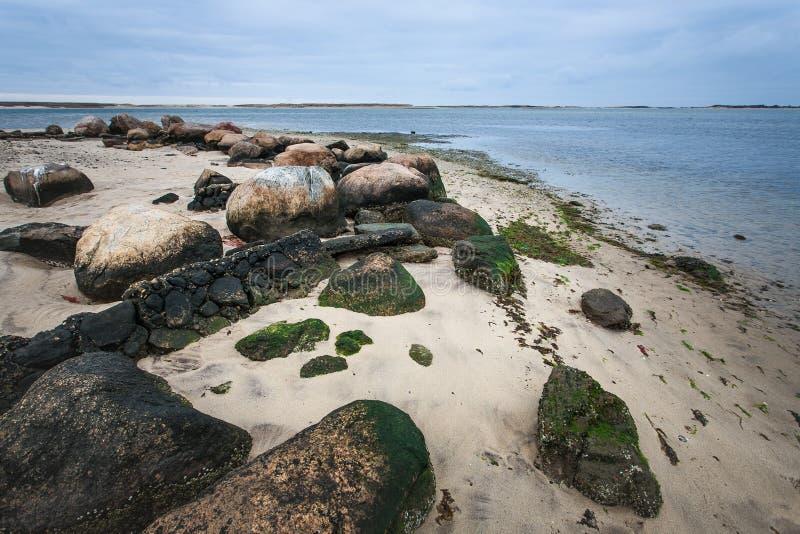 Rotsachtige kust met rotsen en mos stock afbeelding