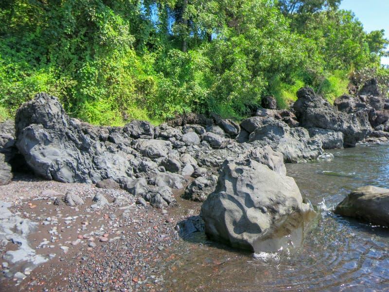 Rotsachtige kust met tropische vegetatie Klippen die boven de oppervlakte uitpuilen Kalme overzees en zonovergoten kustlijn royalty-vrije stock foto