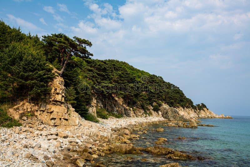 Rotsachtige kust van het Overzees van Japan royalty-vrije stock afbeelding