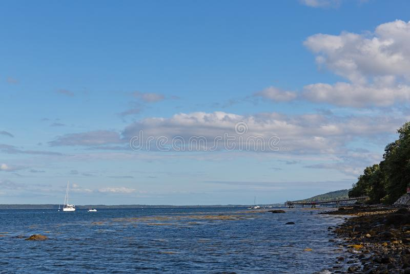 Rotsachtige oever van Belfast, Maine op een bewolkte dag stock afbeelding