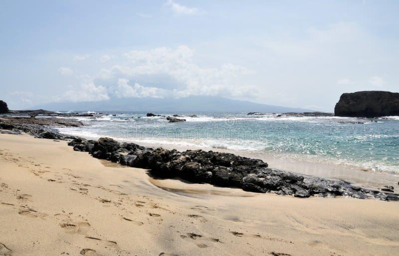 Rotsbarrière door strand stock afbeeldingen