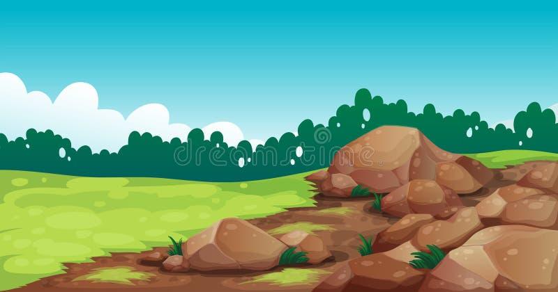 Rotsen bij het gebied vector illustratie