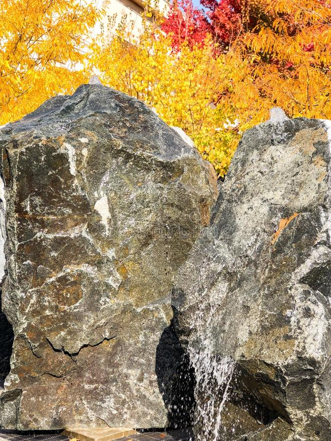 Rotsen en Autumn Leaves in Nevada royalty-vrije stock foto