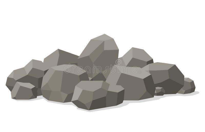 Rotsen en opgestapeld die stenen op witte achtergrond worden geïsoleerd Stenen en rotsen in isometrische 3d vlakke stijl Verschil vector illustratie
