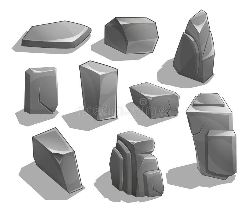 Rotsen en stenen Beeldverhaalstenen en rotsen in isometrische stijl Reeks verschillende keien vector illustratie