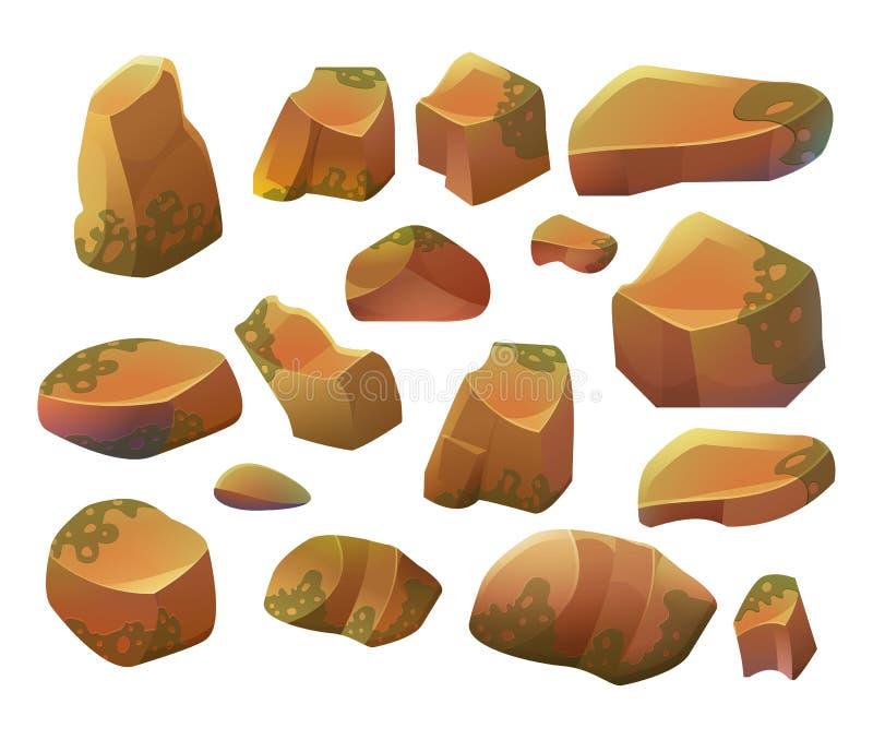 Rotsen en stenen Beeldverhaalstenen en rotsen in isometrische stijl Reeks verschillende keien stock illustratie