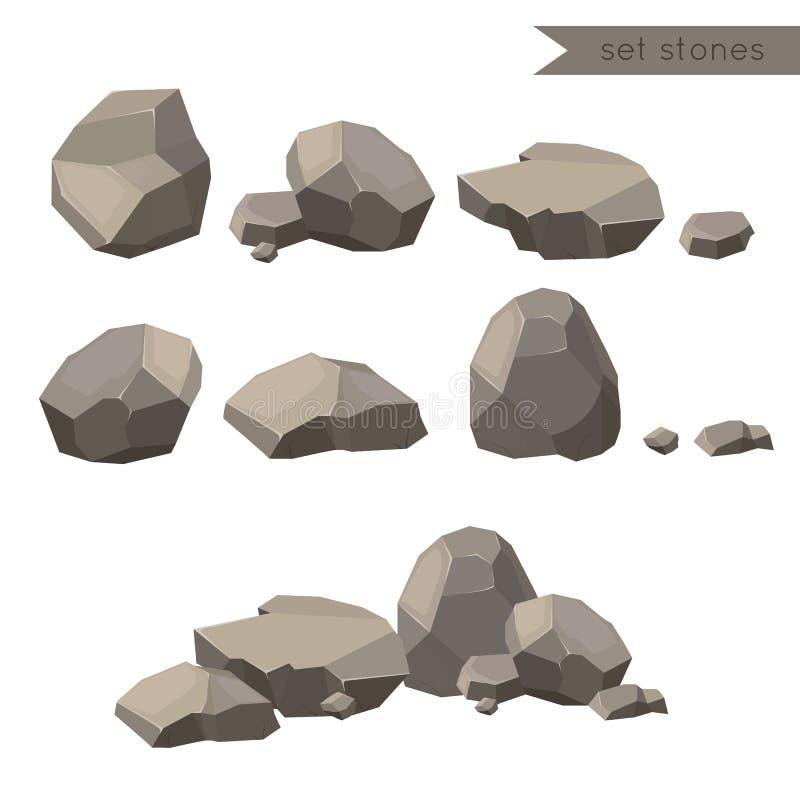Rotsen en stenen De rotsen en de stenen kiezen of stapelden zich voor schade en puin voor de architectuurontwerp van de spelkunst royalty-vrije illustratie