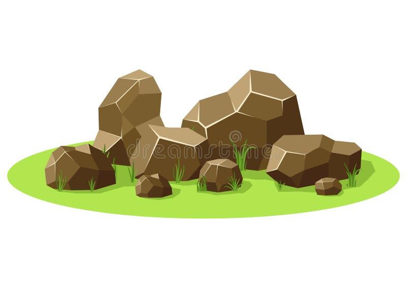 Rotsen en stenen op groen gras worden opgestapeld dat Stenen en rotsen in isometrische 3d vlakke stijl Vastgestelde verschillende royalty-vrije illustratie