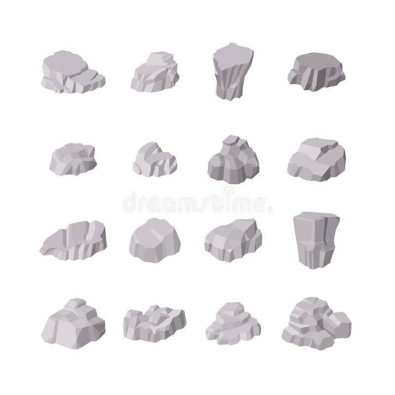 Rotsen en Stenenelementen Verschillende die vormen op witte achtergrond worden geïsoleerd Isometrische 3d vlakke stijl Vector ill stock illustratie