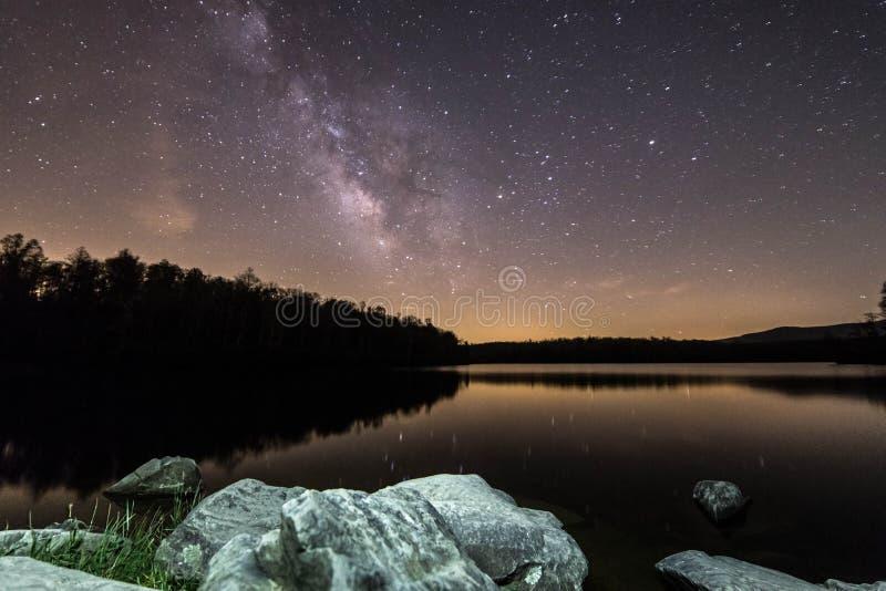 Rotsen onder de Melkweg stock afbeelding