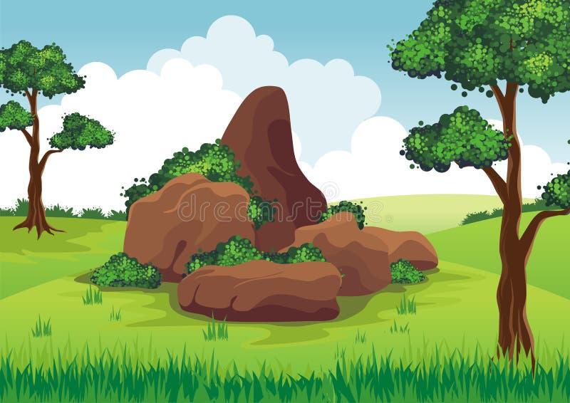 Rotsen op de heuvel stock illustratie