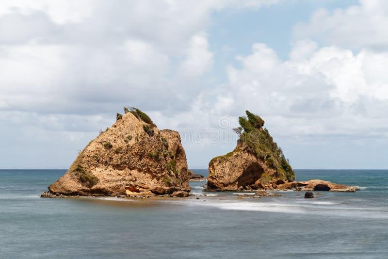 Rotsen op de kust van Dominica royalty-vrije stock fotografie