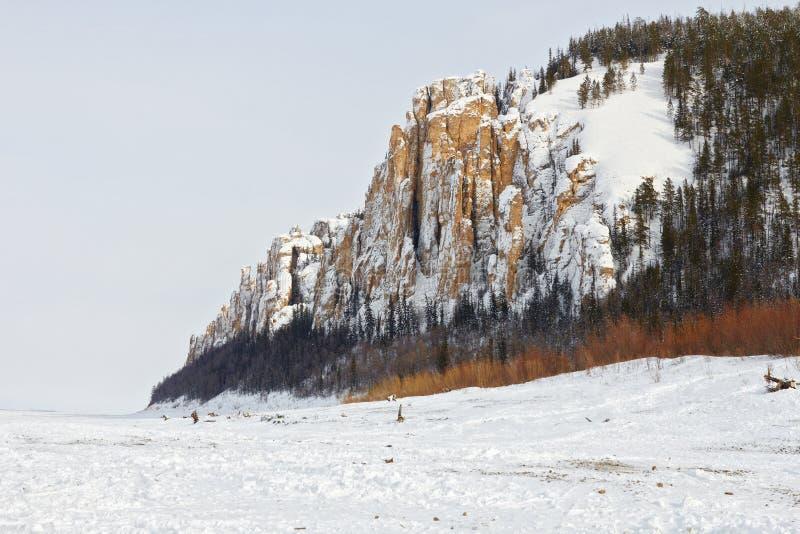 Rotsen op Lena River in Yakutia royalty-vrije stock foto's